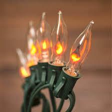 Flickering String Lights Skrlights 10ft String Lights Flickering Flame C7 String Lights For Halloween Outdoor Decoration Green Wire