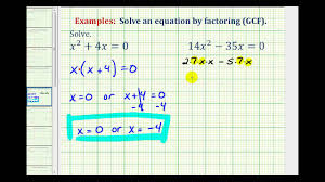 ex factor and solve quadratic equation greatest common factor only