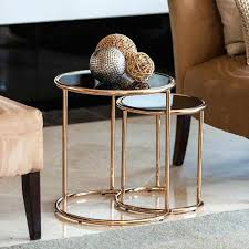 metal glass end tables b set of 2 nested round end tables with black and rose