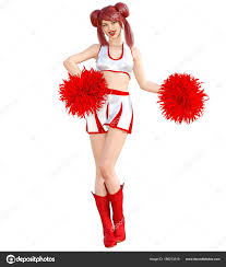3d beautiful red hair cheerleader skirt and long boots bright makeup woman studio photography high heel conceptual fashion art candid pose