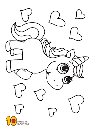Unicorn And Hearts Coloring Page Hmmm Coloring Pages Unicorn