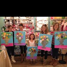 emma s birthday party they painted flowers and passed the canvas