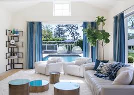 white and blue living room with corner