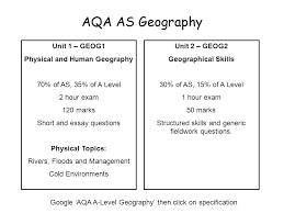 aqa as geography unit geog physical and human geography  2 aqa as geography unit 1 geog1 physical and human geography 70% of as 35% of a level 2 hour exam 120 marks short and essay questions physical topics
