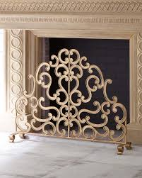 antiqued gold iron and told double scroll single panel fireplace screen