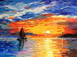 saatchi art artist georgeta blanaru painting romantic sea sunset acrylic palette knife painting