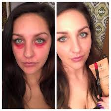 awesome makeup tip do you have dark circles under your eyes use our red primal lip liner to color under your eyes then top with bb cream