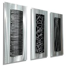 black metal wall art set of 3 silver black metal wall art accents by trifecta black