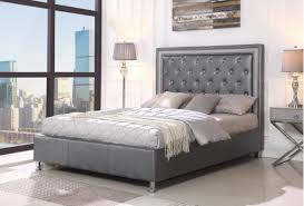 MICCAELA GRAY LEATHER TUFTED PLATFORM BED FRAME AND MATTRESS - Kassa ...