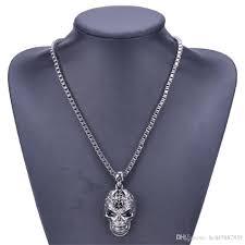 whole pendant necklaces designer jewelry silver black punk skeleton statement necklace 56 cm long box chain women s alternative beauty emerald pendant