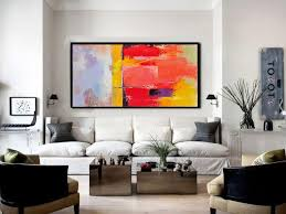 family wall decor horizontal palette knife contemporary art panoramic canvas painting giant wall decor red yellow