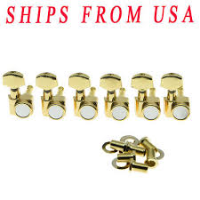 <b>KAISH</b> Gold <b>6 Inline</b> 2 Pin <b>Locking</b> Tuning Keys Tuners For USA ...