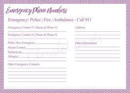 Emergency List Babysitter Emergency List Emergency Contact List List For Refrigerator Emergency Phone Number Form Family Emergency Contact List