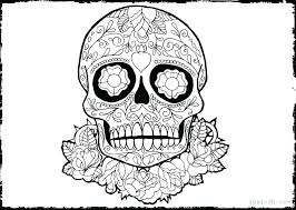 Day Of The Dead Skulls Coloring Pages Day Dead Sugar Skull Coloring