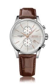 chronograph a quartz movement and a leather strap jet