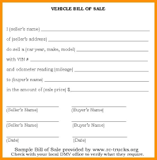 Sample Of Bill Of Sale For Car Vehicle Bill Of Sale Template Sample Vehicle Bill Of Sale Or Bill