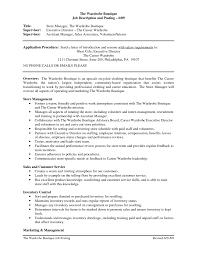 Clothing Retail Resume Template Sales Associate Job Description