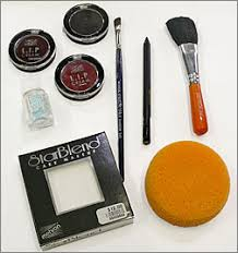 black before you start gather your supplies we used mehron starblend cake in white mehron foam hydra sponge mehron blusher brush