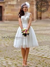 custom short wedding dress with sweetheart illusion lace bodice