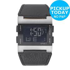 spirit aspg04 men s plastic strap 38mm easy read backlit digital watch black