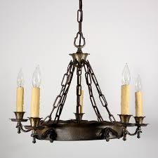 handsome antique spanish revival five light chandelier c 1920s nc1221 rw for