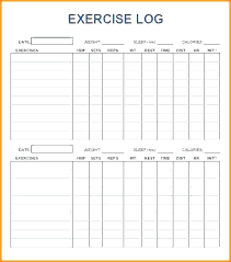 Blank Workout Chart Template Table Training Gym Goal