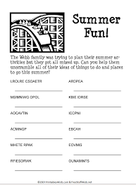 Summer Fun Word Scramble. Printable puzzle for kids.   word puzzle ...