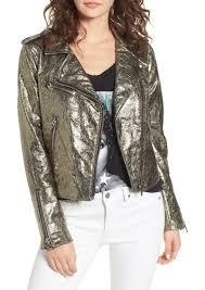 blanknyc metallic faux leather moto jacket