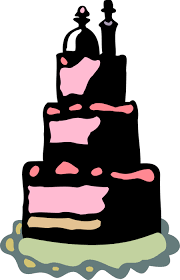 Wedding Cake With Bride And Groom Topper Vector Image
