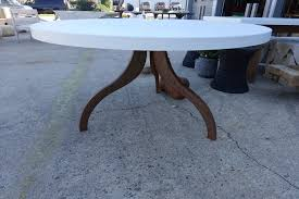 Concrete Top Dining Tables Round Concrete Dining Table With Tripod Metal Base Mecox Gardens