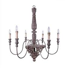 details about 40 round wood metal chandelier w 6 lights 60w