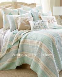 coastal sea glass aqua blue taupe cabana stripe beach cottage reef quilt pillow shams from 169 95