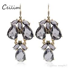 2018 fashion long full gray resin statement earring for women water drop shape chandelier earrings fit holiday party jewelry gifts 2018 from xiteng2017