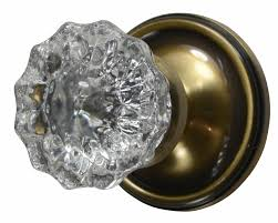 Antique Glass Door Knob Regency Fluted Style Victorian Plate