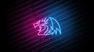 Red Blue neon Dragon Logo 4k ...