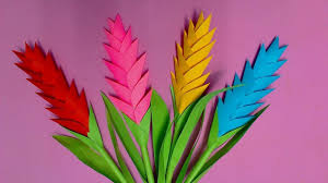 Flower Making Paper How To Make Heliconia Flower With Color Paper Diy Paper Flowers