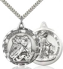 men s large round double sided st michael guardian angel medal sterling silver