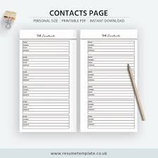 Personal Contact Template 2019 Printable Contacts Page Contacts List Personal Size