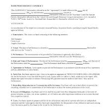 Performance Agreement Contract Sample Examples In Word