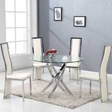 round glass dining table. daytona dining table round in clear glass with chrome legs_3