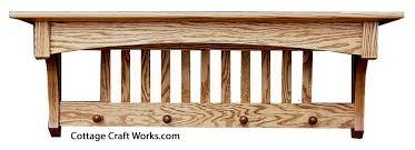 Oak Wall Coat Rack Mission Oak Wall Shelf Coat Rack Home Essentials Amish 23
