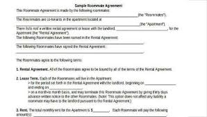 Sample Roommate Contract 8 Roommate Agreement Form Samples Free Sample Example Format