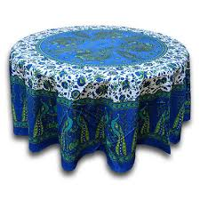 cotton peacock fl tablecloth round 72 inches blue green