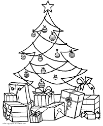Small Picture Tree Coloring Pages With Presents