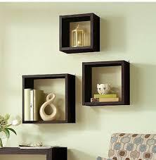 floating wall cube box shelf shelves light oak dark walnut set of