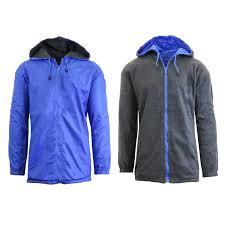 spire by galaxy men s fleece lined hooded windbreaker jacket