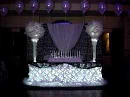 b w damask themed centerpieces linens back drop by sweet 16 candelabras you