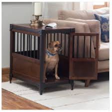 Image is loading Pet-Crate-End-Table-Wood-Indoor-Dog-House-