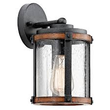 Shop Kichler Barrington In H Distressed Black And Wood - Kichler exterior lighting