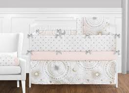 celestial pink and gold crib bedding